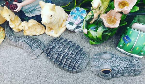 Crocodile 3 Peices Concrete Garden Statue Ornament ~ PICKUP ONLY - The Bowerbirds Nest of Treasures