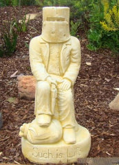 NED KELLY SITTING Concrete Garden Statue ~ PICKUP ONLY - the-bowerbirds-nest-of-treasures