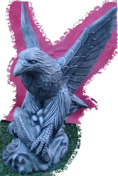 Large Eagle  Concrete Garden Statue ~ PICKUP ONLY - the-bowerbirds-nest-of-treasures