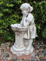 Girl with Flower Feeder Garden Statue Ornament
