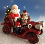 Santa Driving Car with LED lights Statue Ornament - The Bowerbirds Nest of Treasures