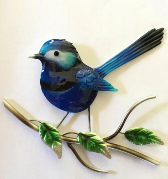 Blue Fairy Wren Metal Wall Ornament