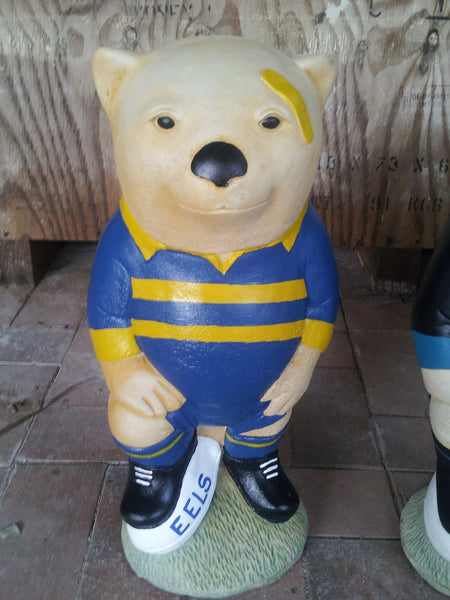 PARRAMATTA EELS NRL Footy Wombat Concrete Garden Statue - The Bowerbirds Nest of Treasures