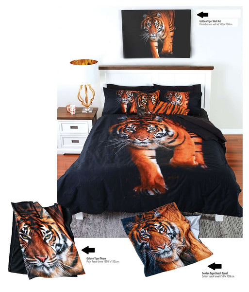Golden Tiger Double Bed Quilt Doona Duvet Cover Set - The Bowerbirds Nest of Treasures