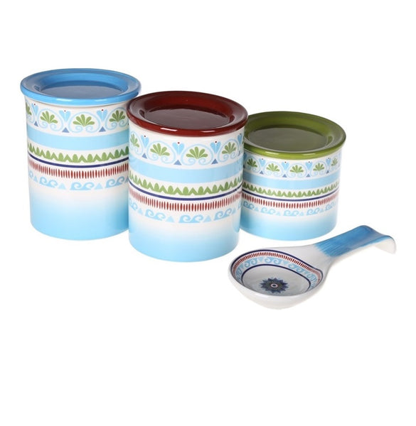 Marrakesh Ceramic Cannister Set 4 Peice Collection