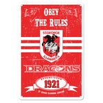 St George Illawarra Dragons Obey The Rules Retro Metal Sign - The Bowerbirds Nest of Treasures