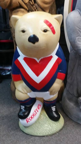 SYDNEY ROOSTERS NRL Footy Wombat Concrete Garden Statue - The Bowerbirds Nest of Treasures