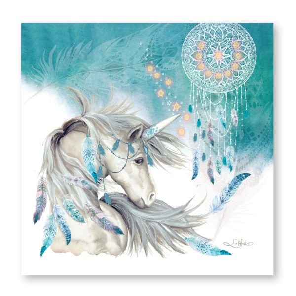 Teal Mystical Spirit Lisa Pollock Unicorn LED Wall Canvas - the-bowerbirds-nest-of-treasures