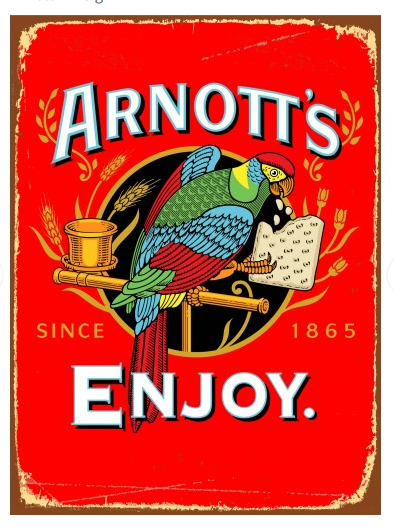 Arnotts Metal Sign The Bowerbirds Nest of Treasures Warragamba