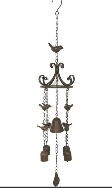 Cast Iron Bird Wind Chime Garden Decor