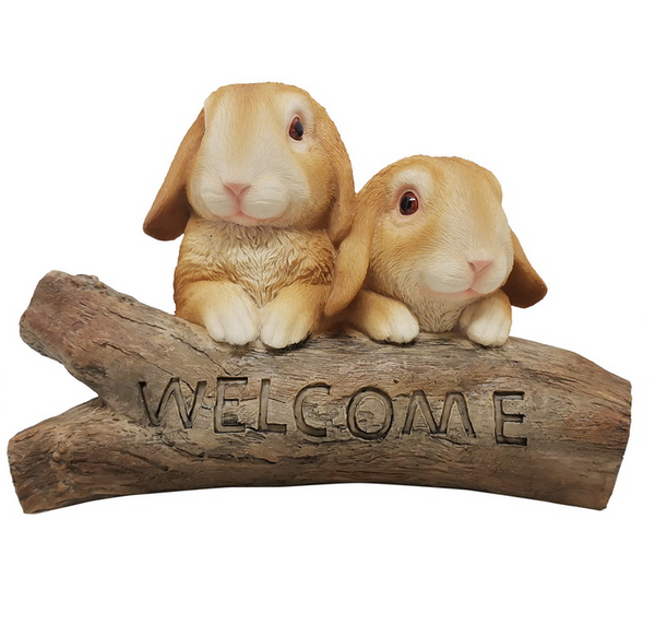 Welcome Rabbits on Log Garden Ornament Statue