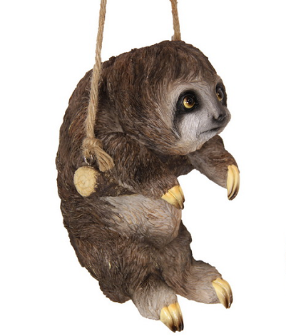 Hanging Sloth on Rope Garden Ornament Statue
