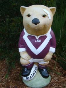 MANLY SEA EAGLES NRL Footy Wombat Concrete Garden Statue - the-bowerbirds-nest-of-treasures