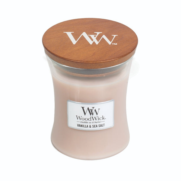 Vanilla & Sea Salt Woodwick Candle Medium - The Bowerbirds Nest of Treasures