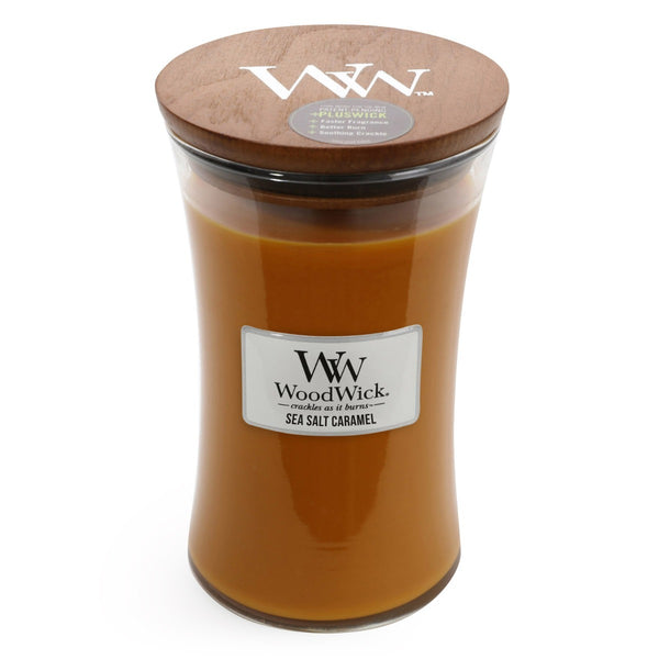 Sea Salt Caramel Woodwick Candle ~ Large - The Bowerbirds Nest of Treasures