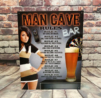 Man Cave Rules Metal Sign The Bowerbirds Nest of Treasures Warragamba