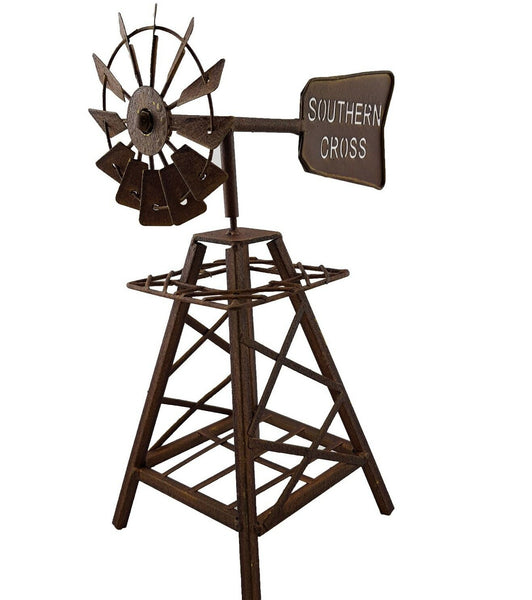 Rustic Metal Southern Cross Windmill Garden Ornament