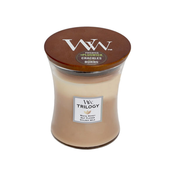 Golden Treats Trilogy Woodwick Candle Medium - The Bowerbirds Nest of Treasures