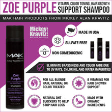 Load image into Gallery viewer, ZOE PURPLE Vitamin & Volumizing Color Toning Shampoo  - MAK Hair Products from Mickey Alan Kravitz