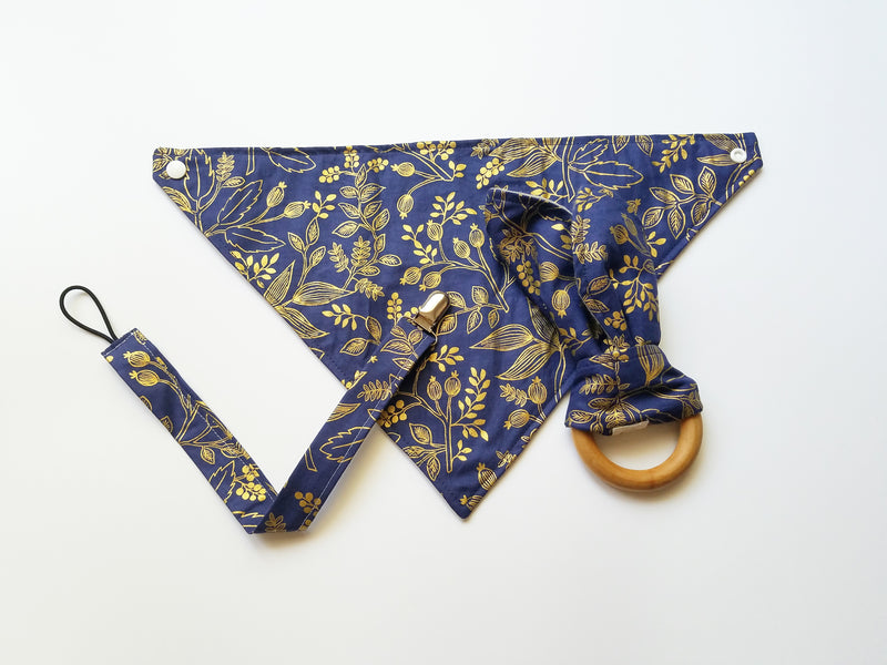 LITTLE DROOL DRIBBLER STARTER COLLECTION - NAVY GOLD FLORAL