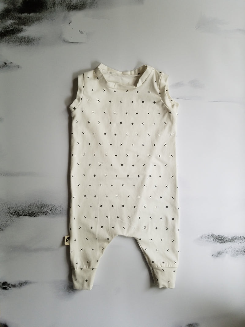 TANK ROMPER - CREAM CROSS