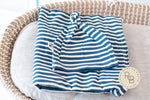 BLANKET + HAT SET - STRIPED DENIM BLUE