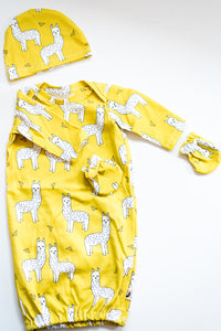 NEWBORN SLEEPER GOWN WITH MATCHING HAT - LLAMA