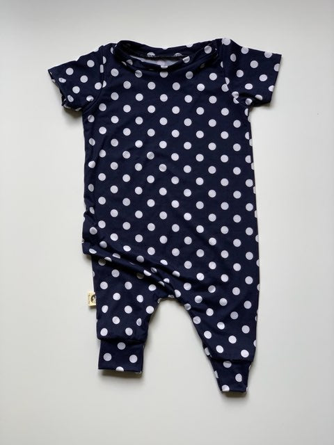 ROMPER - NAVY WHITE POLKA DOT