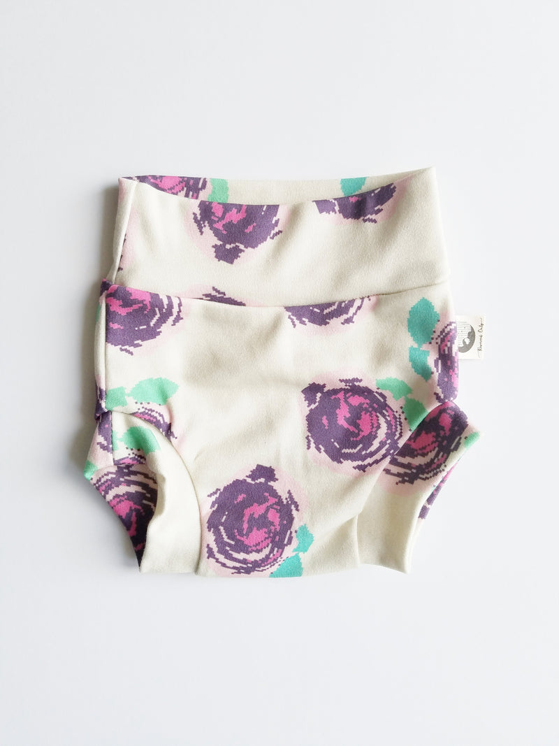 NEWBORN DIAPER COVER | BUMMIES - PURPLE DIGITAL ROSES