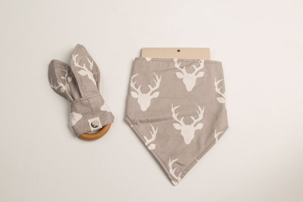 LITTLE DROOL DRIBBLER STARTER COLLECTION - GRAY WHITE DEER