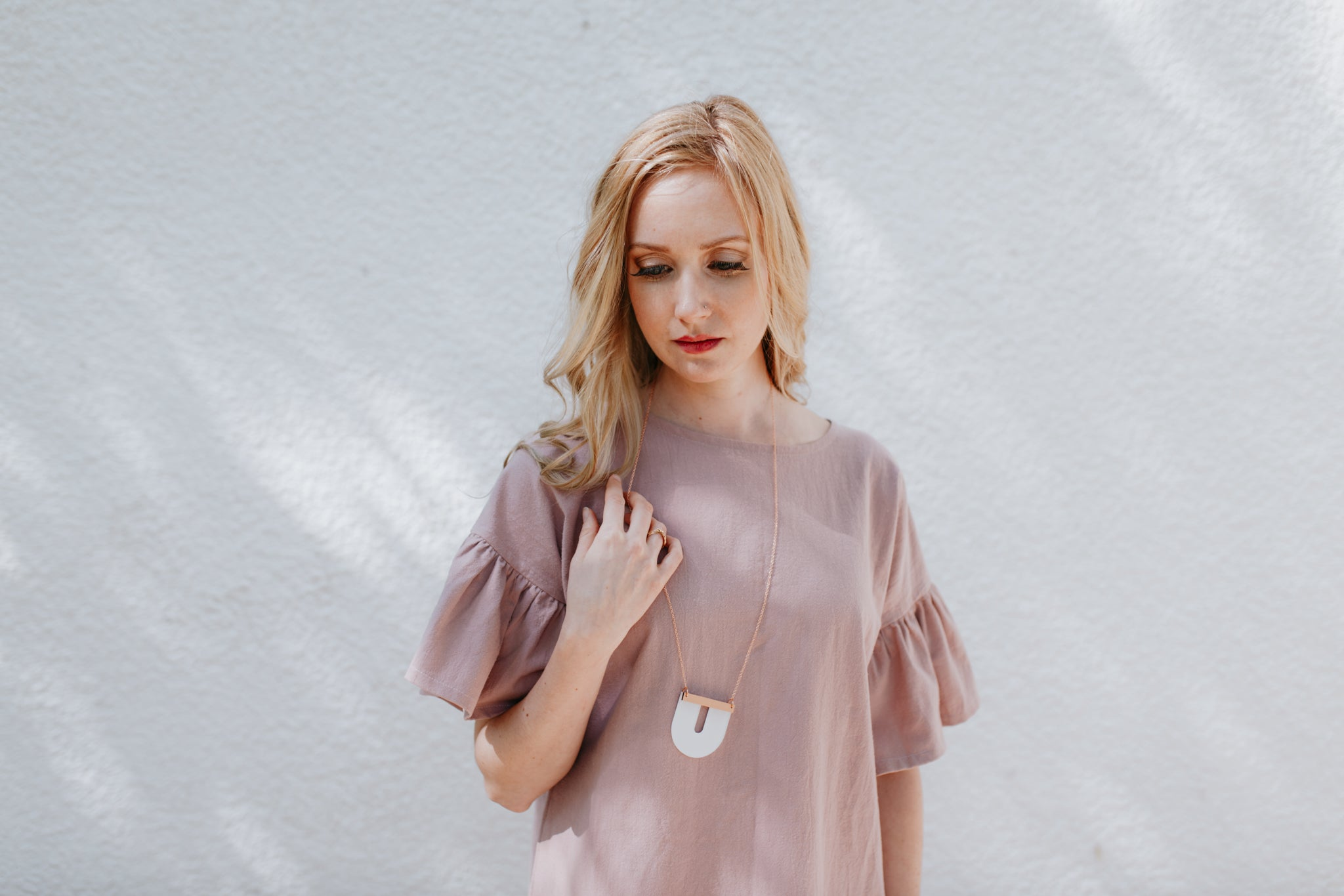 FREJA Ruffle Dress, Blush