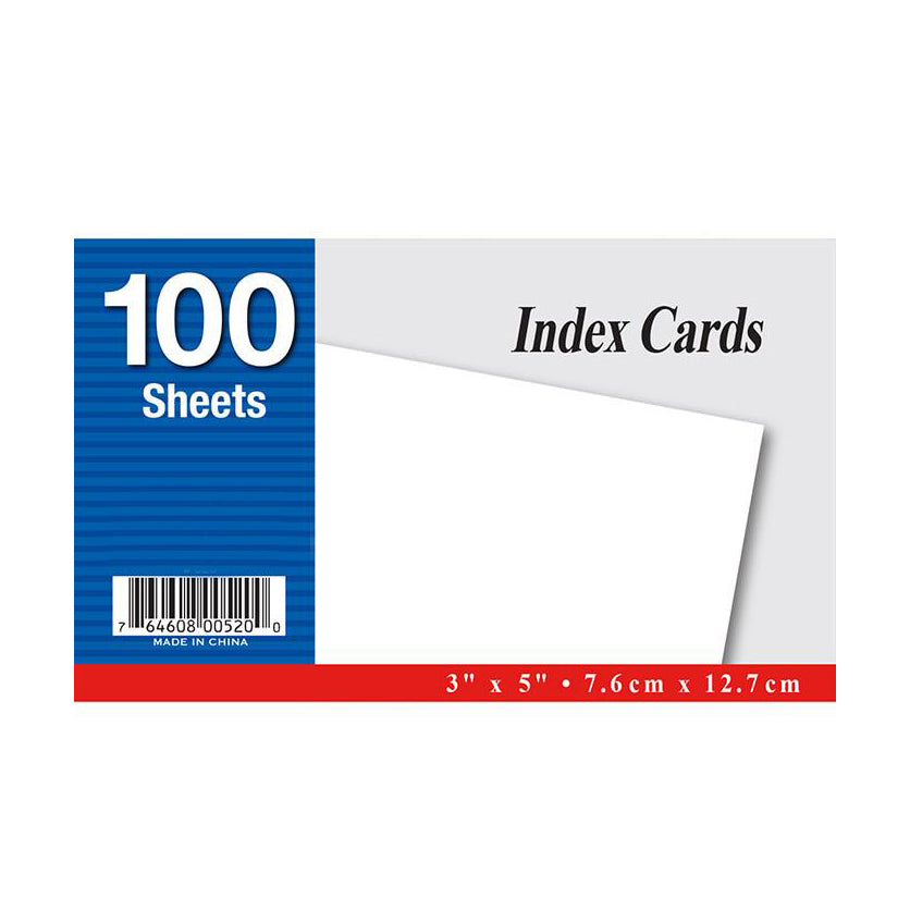 Unruled Index Card, 100 Sheets