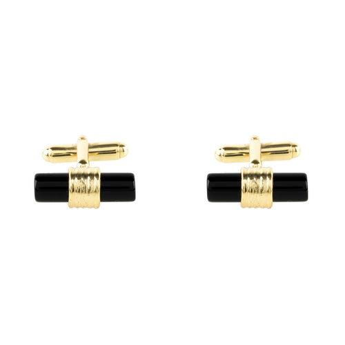 Cylindrical Cufflink Gold Black Onyx
