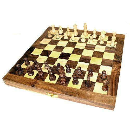 Hand Crafted Folding Wooden Chess Set