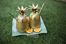 Gold Pineapple Cups Outside with Lids | Great Present Ideas | Present Pal