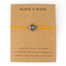 "Orange ""Make a Wish"" Turtle Bracelet 