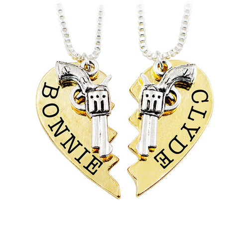 Bonnie and Clyde Two Part Couple's Necklace
