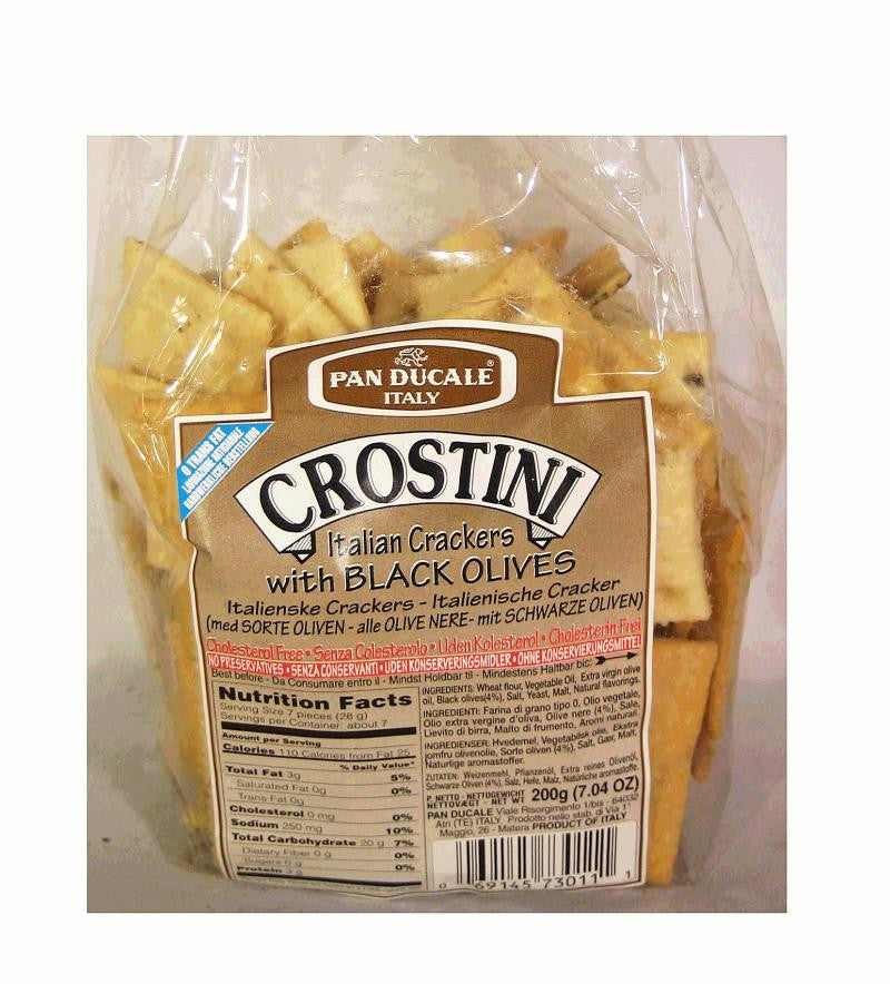 Crostini - Crackers with Black Olives by Pan Ducale 200g - www.Limoncello.co.uk