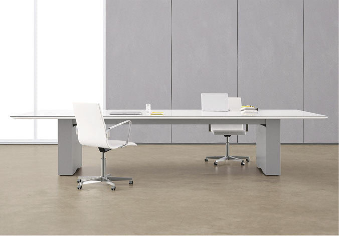 Rectangular White Glass Boardroom Table w/ Power