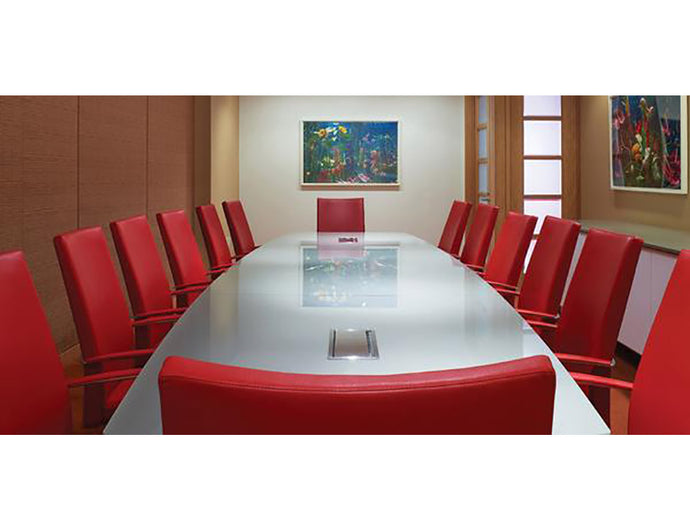 White Glass Boardroom Table w/ Power