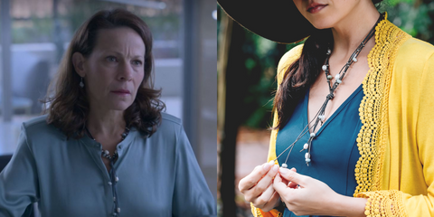 Aquamarine and Pearl Leather Necklace As Seen On Netflix Chambers