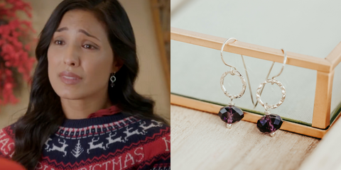 Purple Crystal Drop Earrings As Seen On Lifetime Holiday Movie The Christmas Edition