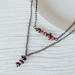 Garnet Tourmaline Gemstone Necklace Set