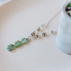 Green Gemstone Smoke Quartz Sterling Silver Necklace
