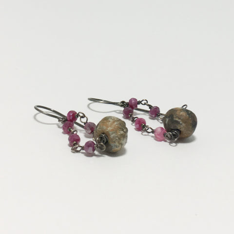 Rustic Stoneware Pink Moonstone Rosary Chain Earrings