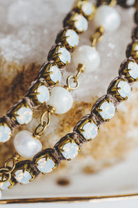 Rhinestone and Pearl Triple Strand Bracelet