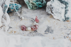Natural Strawberry Quartz Sterling Silver Pendant Necklace