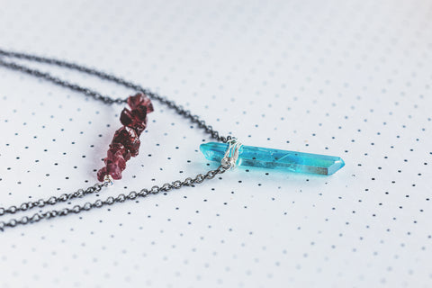 As Seen On Netflix The Order Aura Crystal Pendant and Raw Garnet Double Strand Gunmetal Sterling Silver Choker Necklace