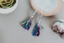Load image into Gallery viewer, Crystal and Sari Ribbon Tassel Earrings