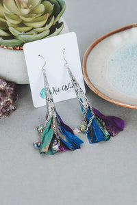 Crystal and Sari Ribbon Tassel Earrings